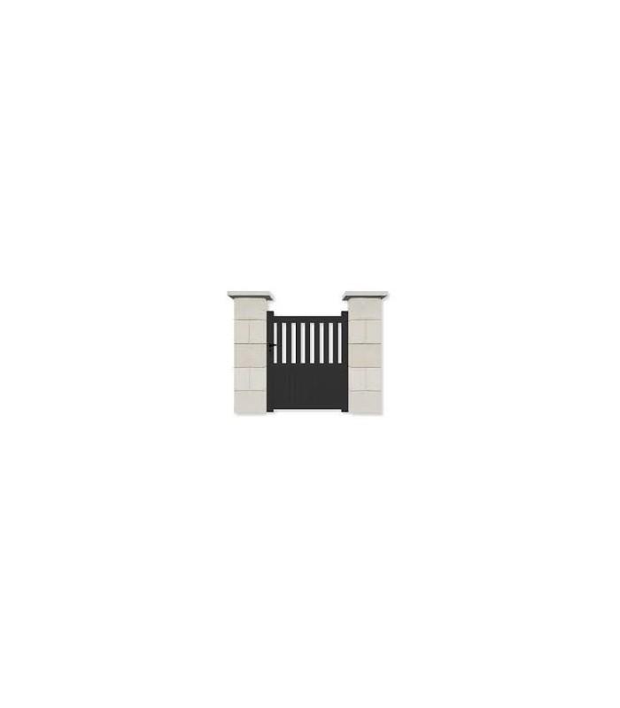 Portillon de jardin aluminium droit finitions noir barreaudé
