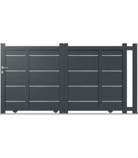 portail Santhay coulissant droit et plein en aluminium lames larges avec décor inox (avec adaptation éventuelle de traverse vert