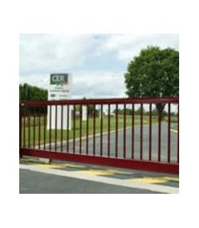 portails coulissants droit entièrement barreaudé en aluminium finition rouge (toute couleur Ral possible)