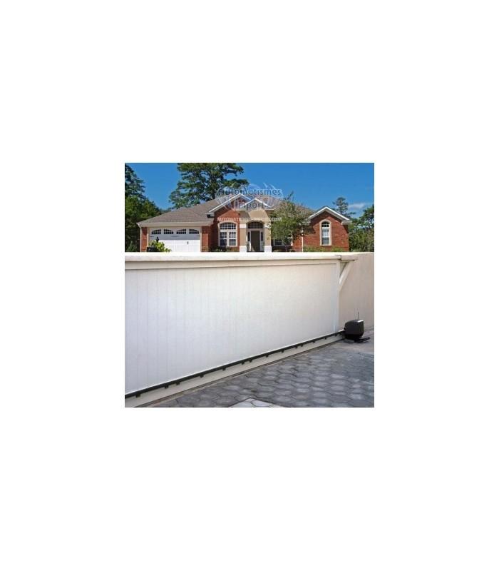 portails coulissants droit en aluminium avec lames posées horizontalement ou verticalement