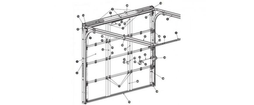 Porte de garage sectionnelle ISO 45 portillon ouverture sur l'intérieur